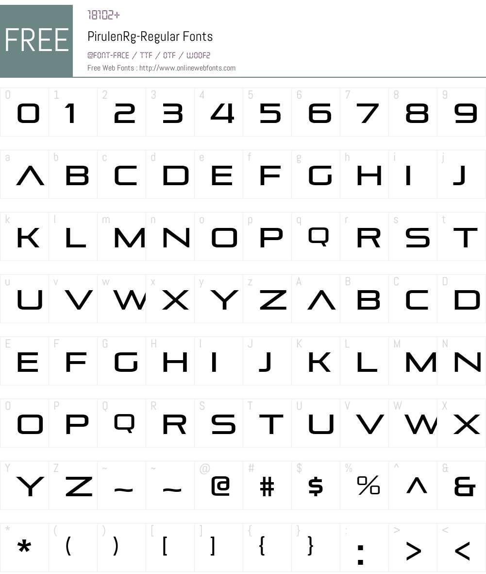 Pirulen Font Screenshots