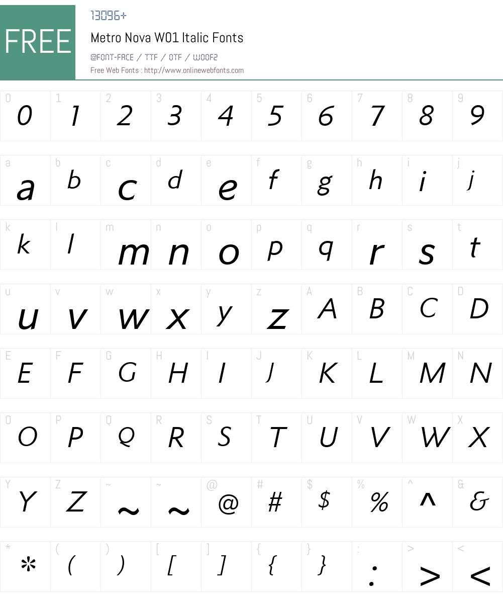 MetroNovaW01-Italic Font Screenshots