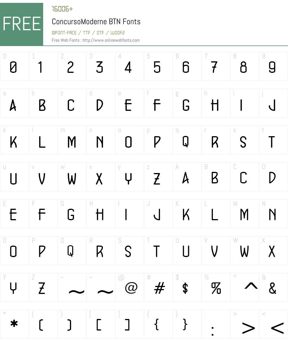 ConcursoModerne BTN Font Screenshots