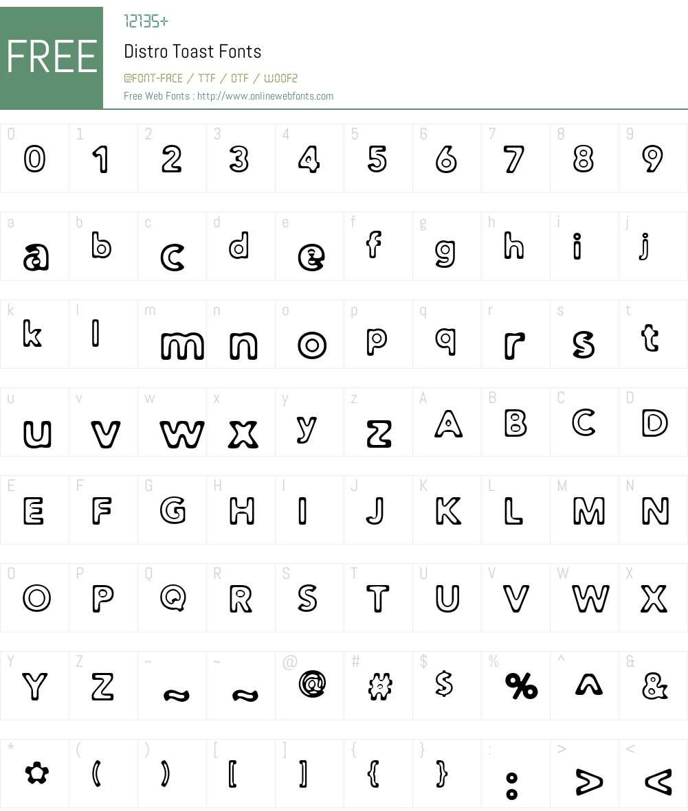 Distro Toast Font Screenshots