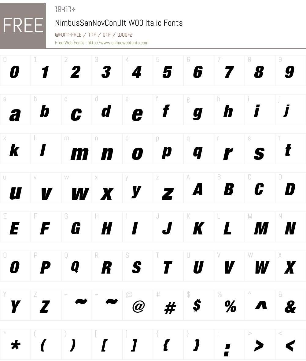 NimbusSanNovConUltW00-It Font Screenshots