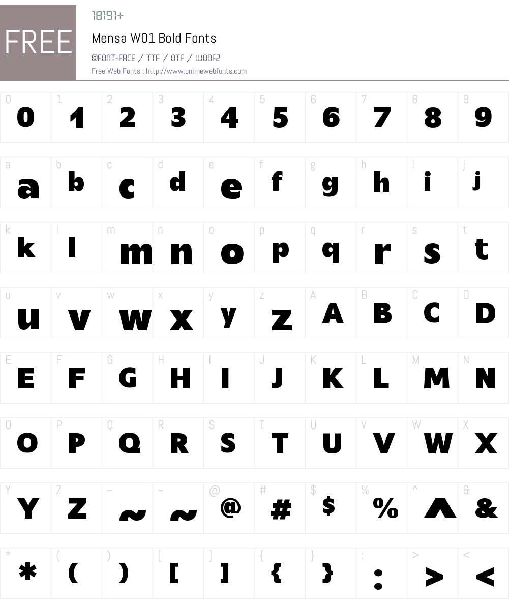 MensaW01-Bold Font Screenshots