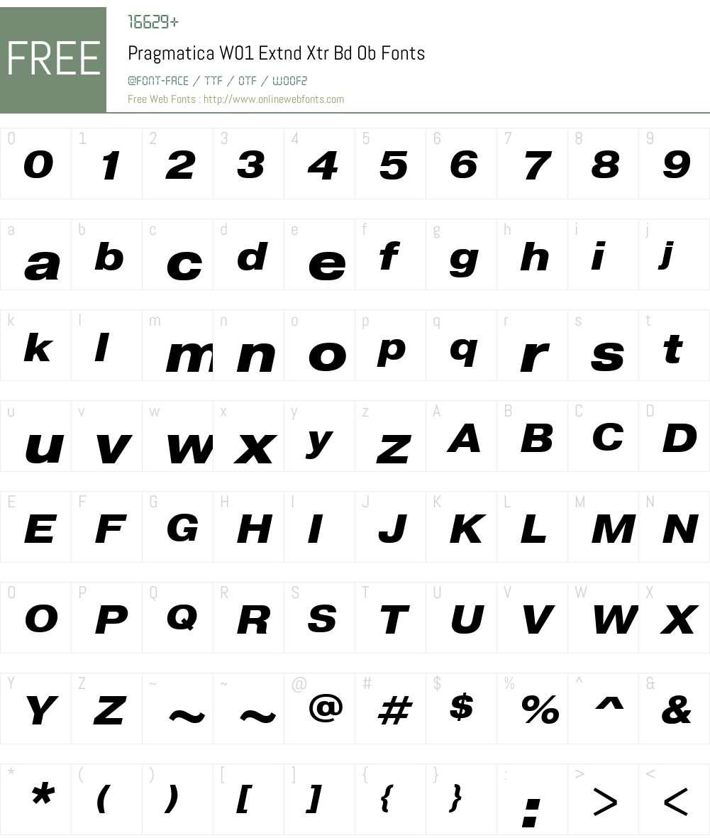 PragmaticaW01-ExtndXtrBdOb Font Screenshots