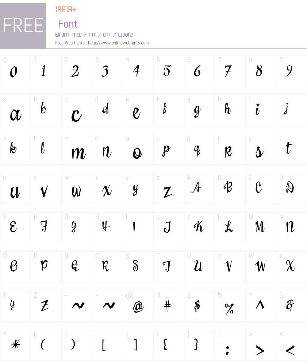SisterFriskyW00-Reg Font Screenshots