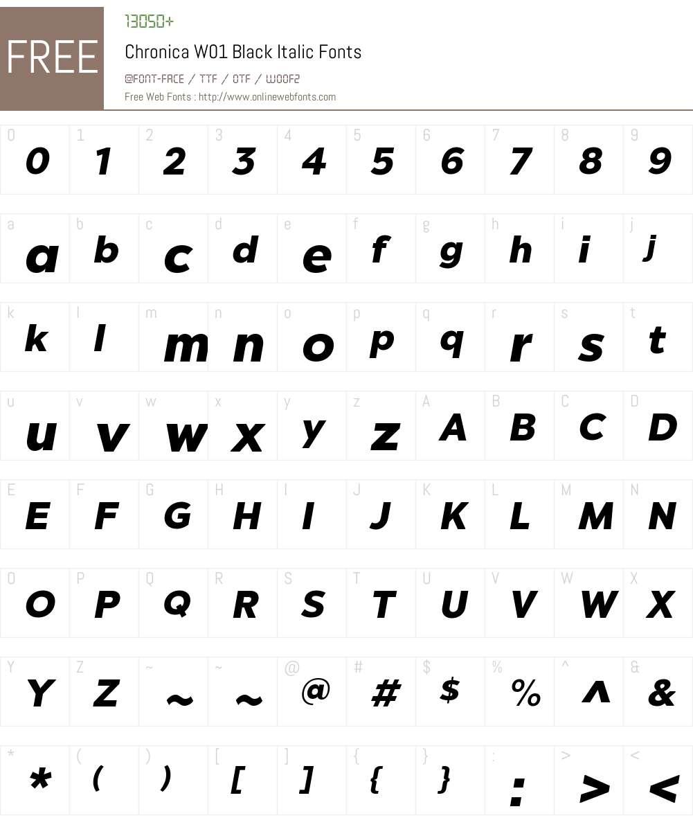 ChronicaW01-BlackItalic Font Screenshots