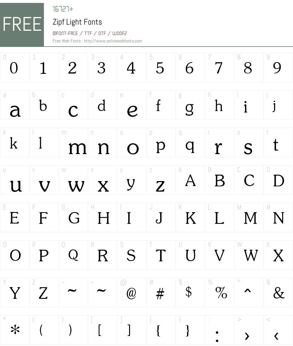 Zipf Light Font Screenshots