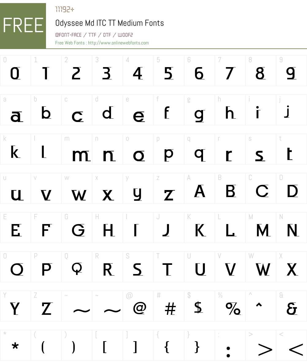 Odyssee Md ITC TT Font Screenshots