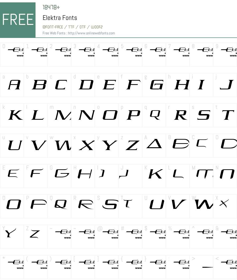 Elektra Font Screenshots
