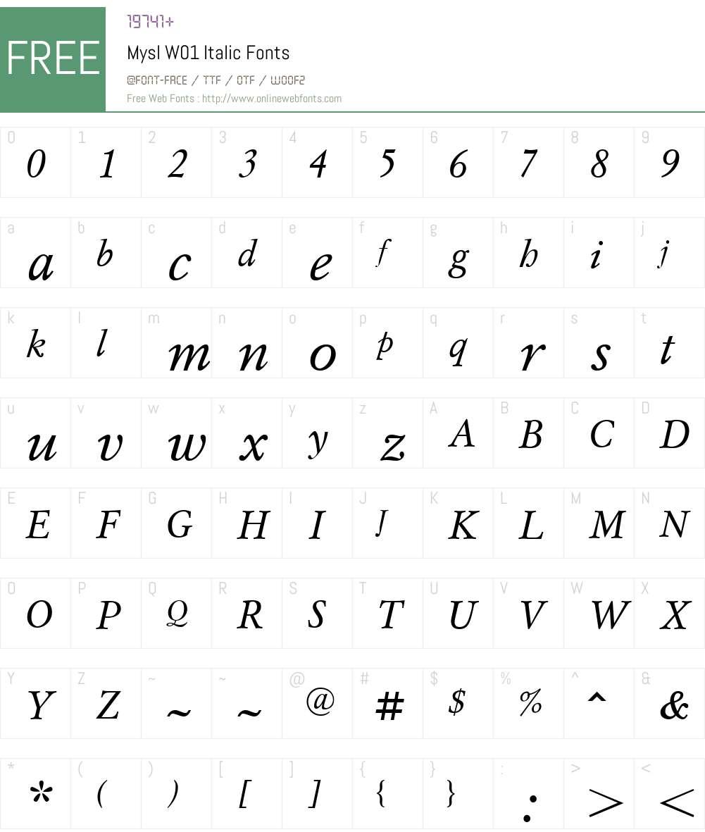 MyslW01-Italic Font Screenshots