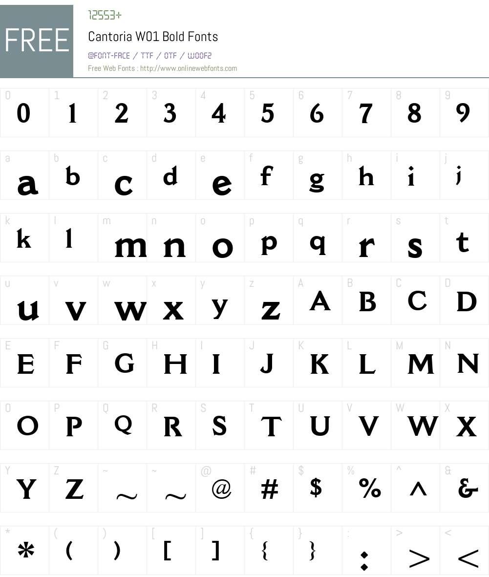 CantoriaW01-Bold Font Screenshots