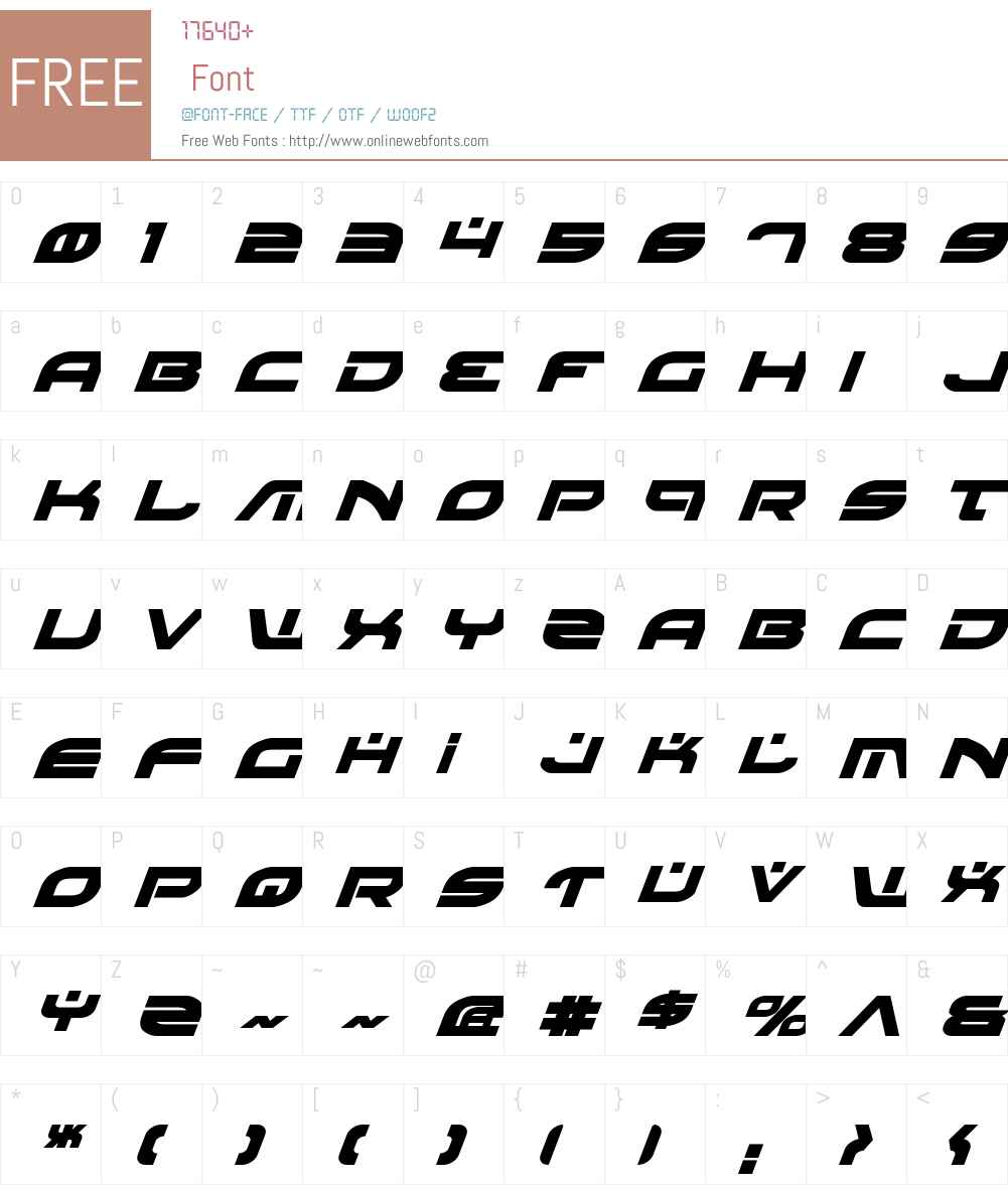 Battlefield Bold Italic Font Screenshots