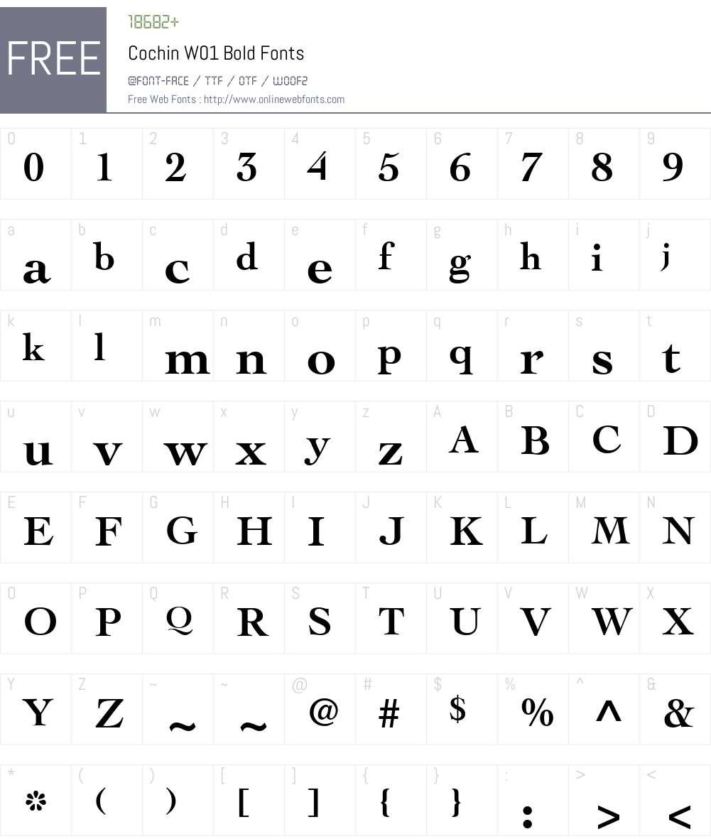 CochinW01-Bold Font Screenshots