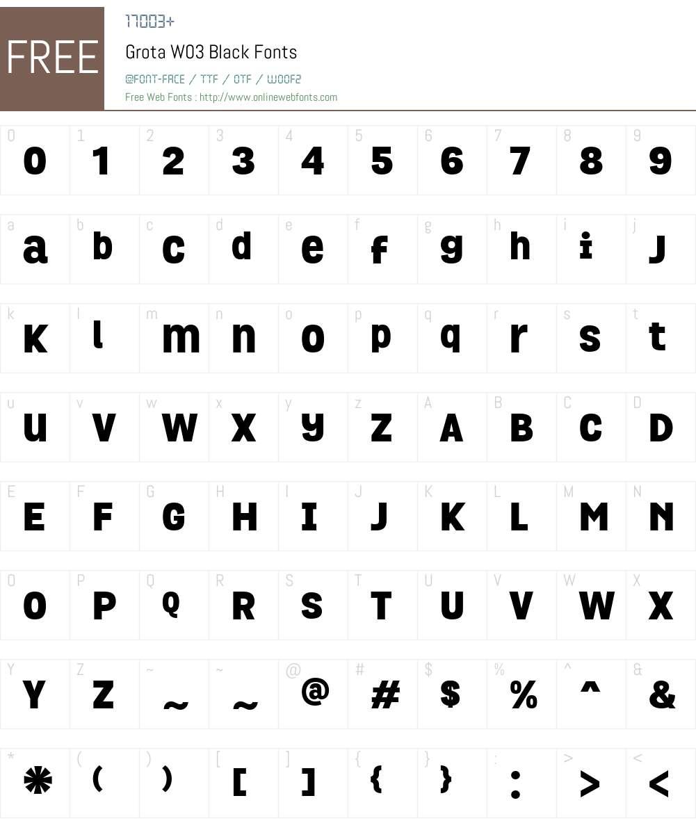 GrotaW03-Black Font Screenshots
