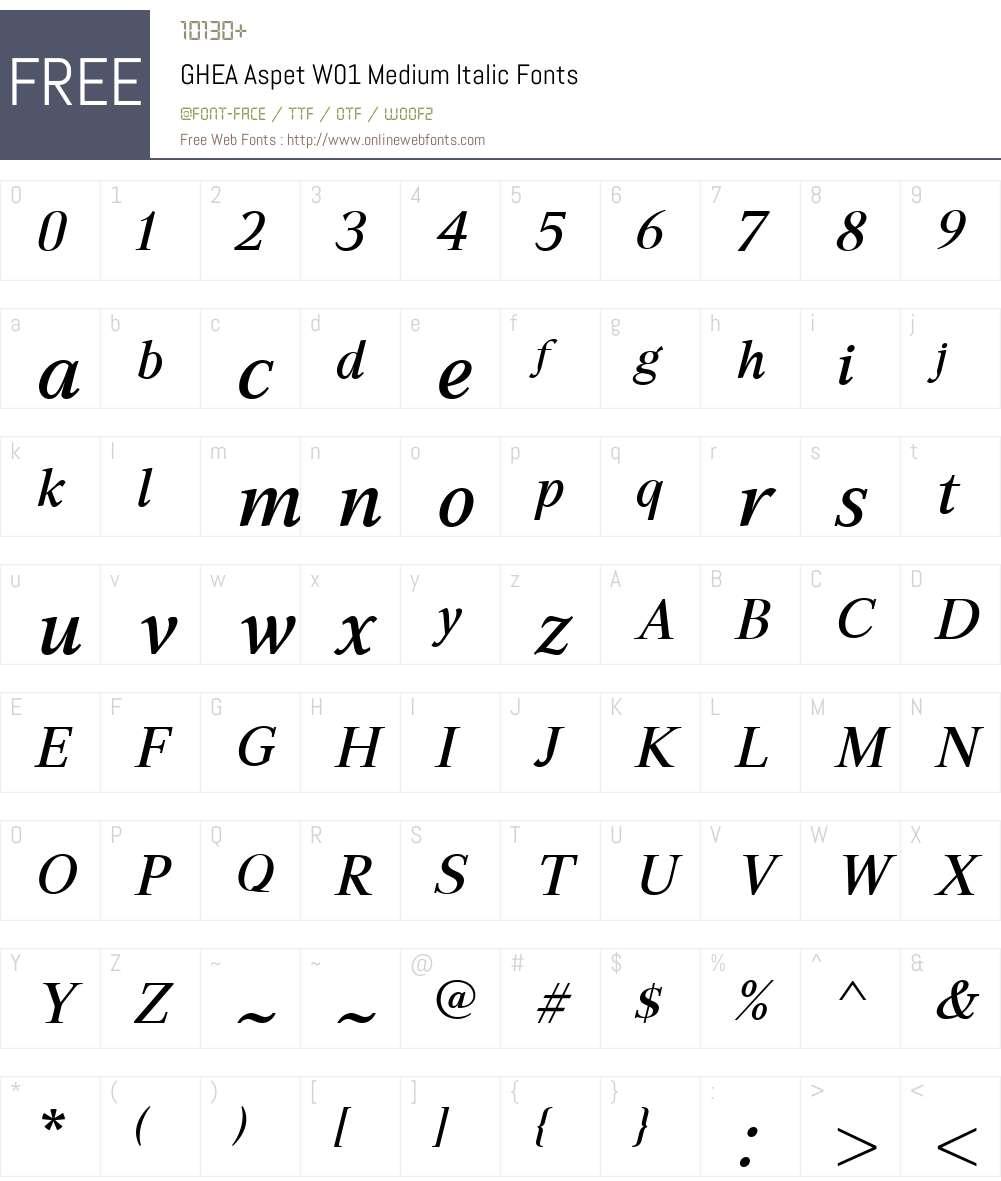 GHEAAspetW01-MediumItalic Font Screenshots