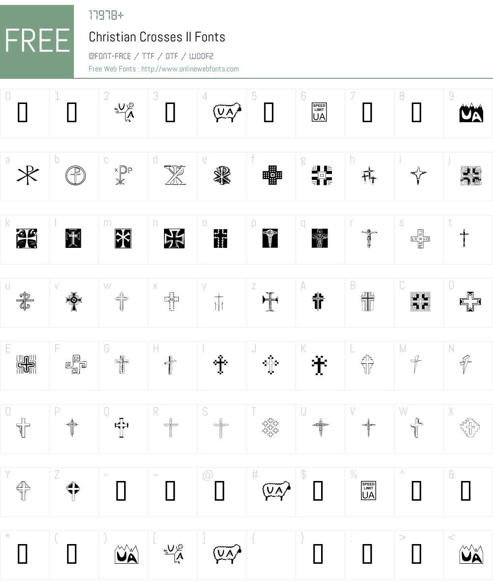 Christian Crosses II Font Screenshots