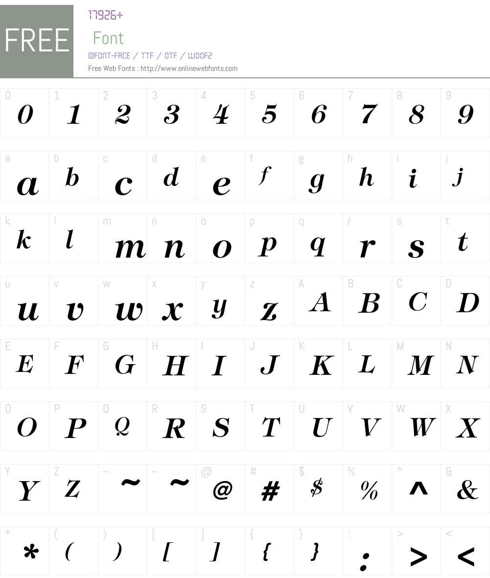 TiffanyEF-DemiItalic Font Screenshots