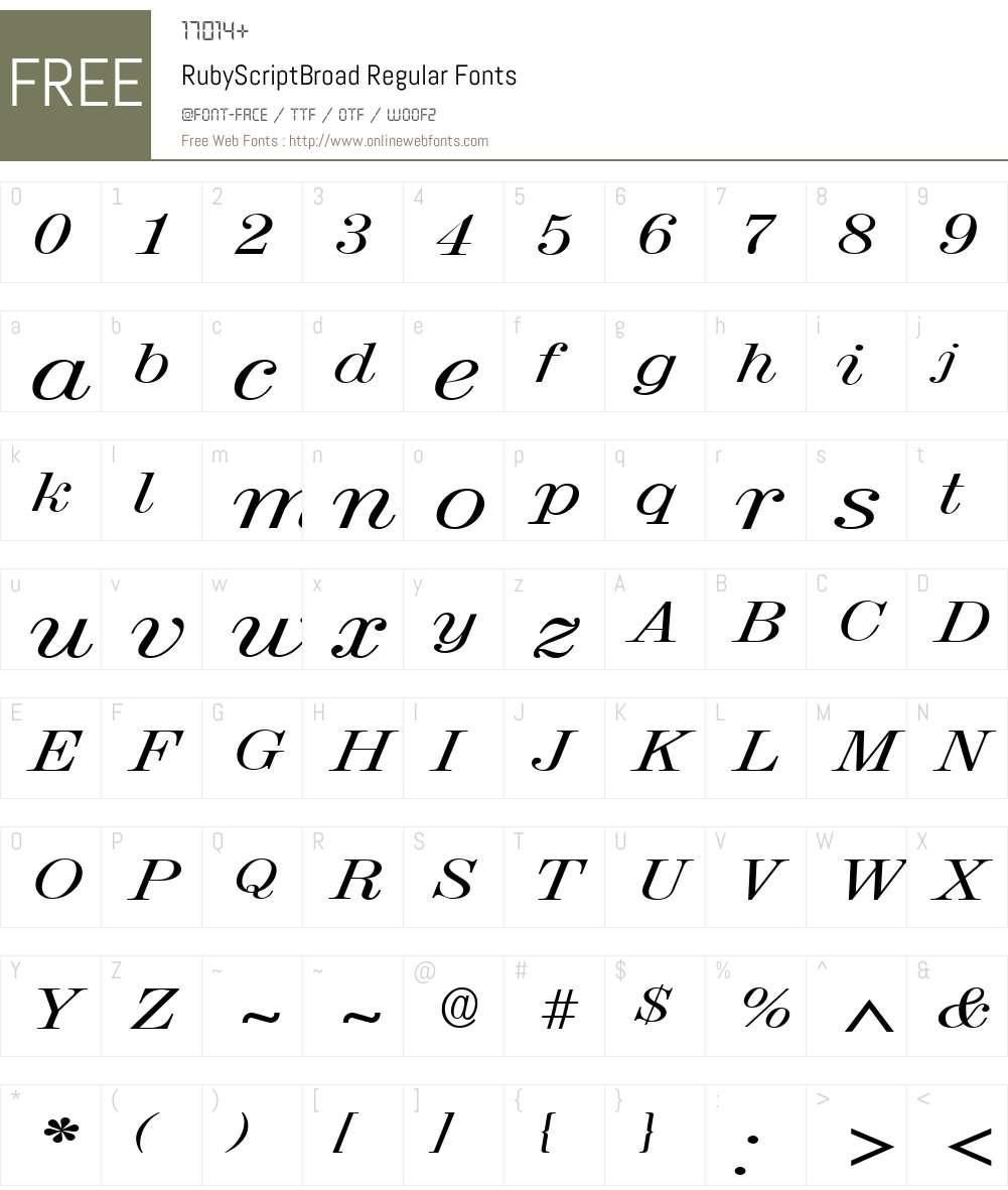 RubyScriptBroad Font Screenshots