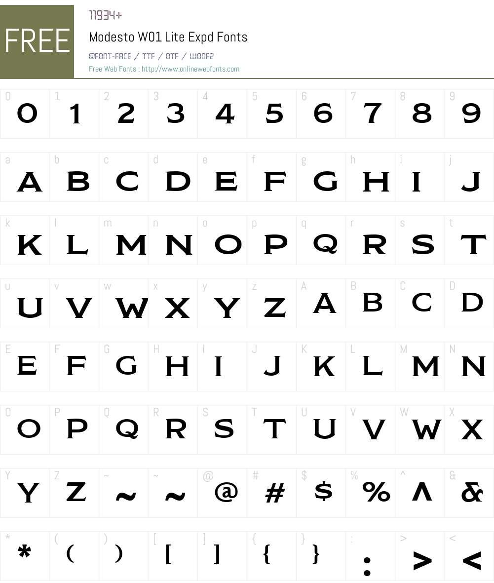 ModestoW01-LiteExpd Font Screenshots
