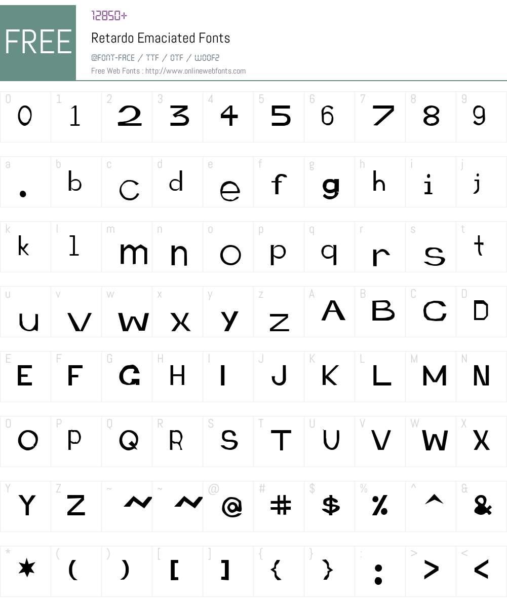 Retardo Emaciated Font Screenshots