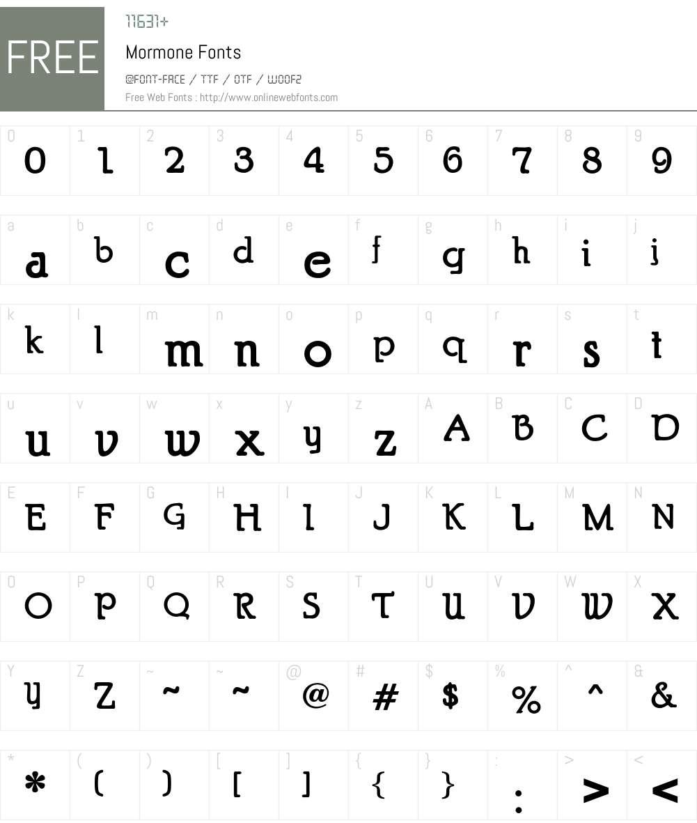 Mormone Font Screenshots