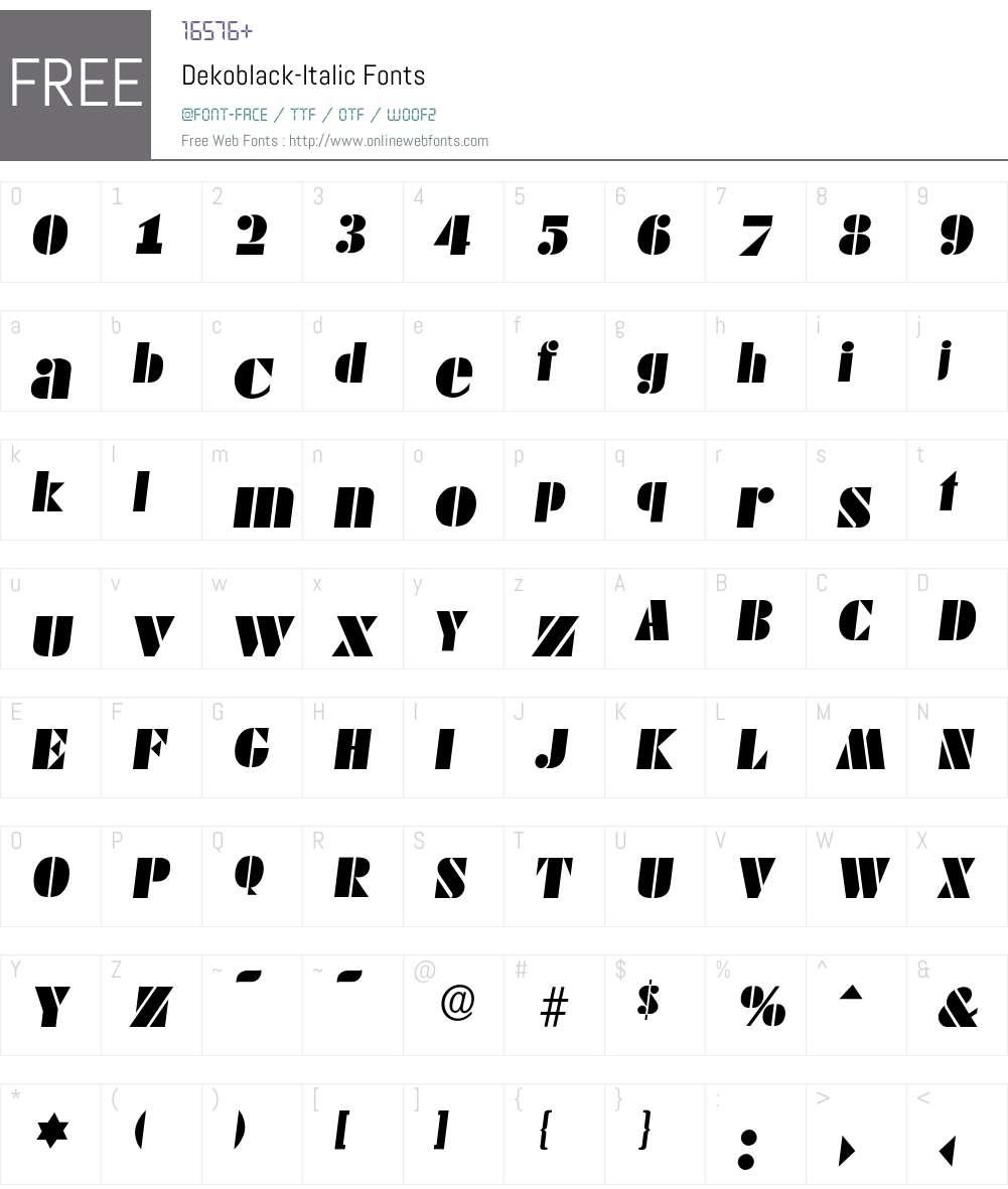 Dekoblack-Italic Font Screenshots