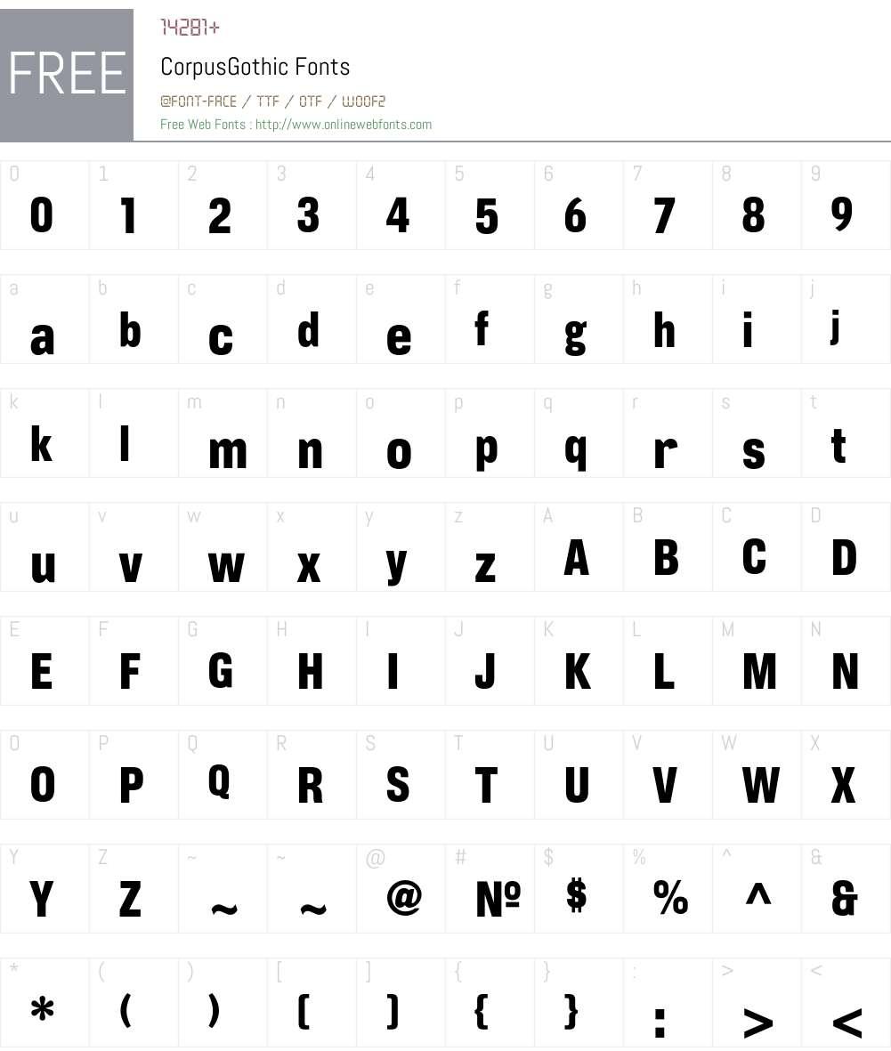 CorpusGothic Font Screenshots