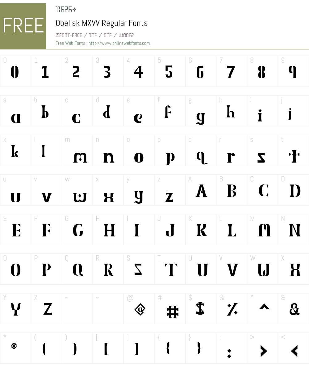 Obelisk MXVV Font Screenshots