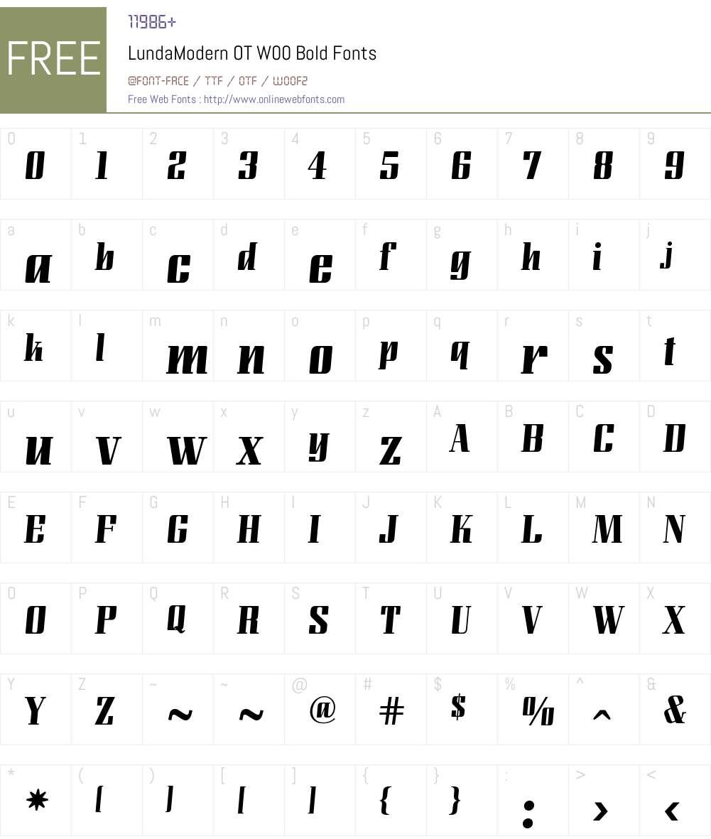 LundaModernOTW00-Bold Font Screenshots