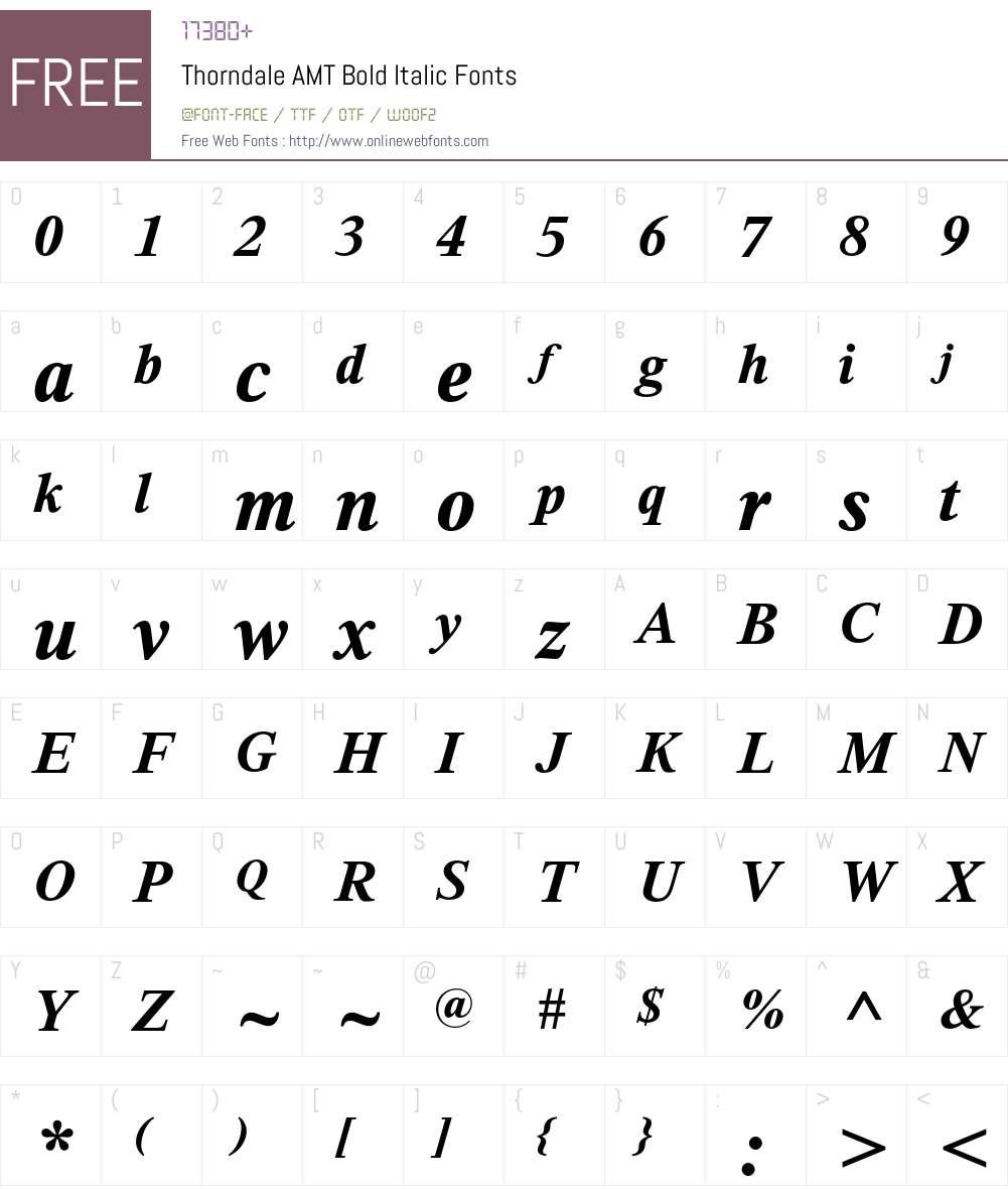 Thorndale AMT Font Screenshots