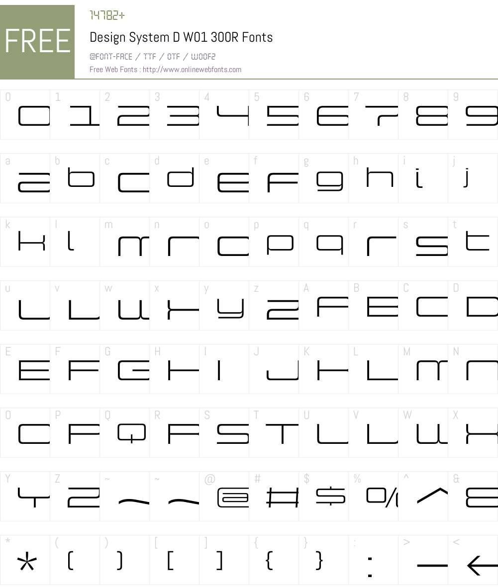 DesignSystemDW01-300R Font Screenshots