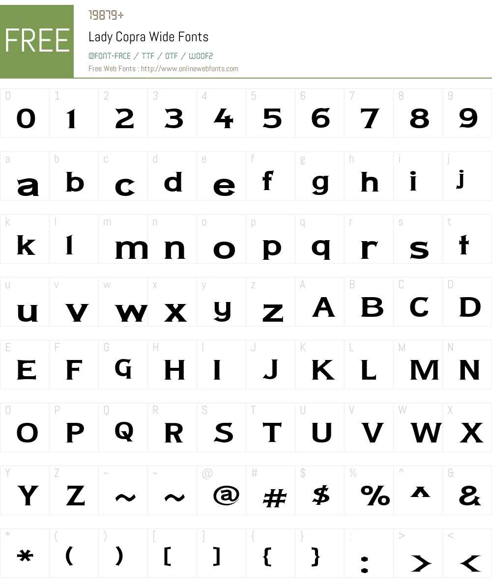 Lady Copra Wide Font Screenshots