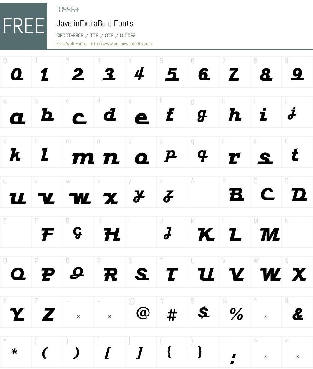 JavelinExtraBold Font Screenshots