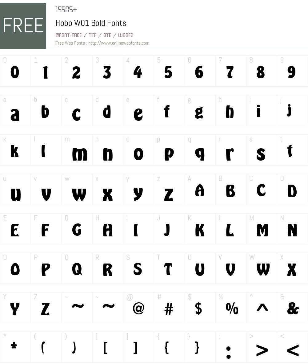 HoboW01-Bold Font Screenshots