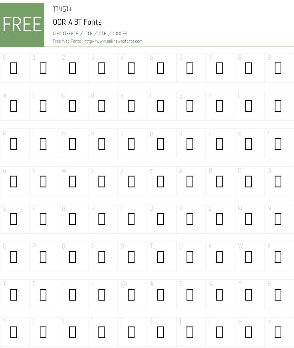 OCR-A Font Screenshots
