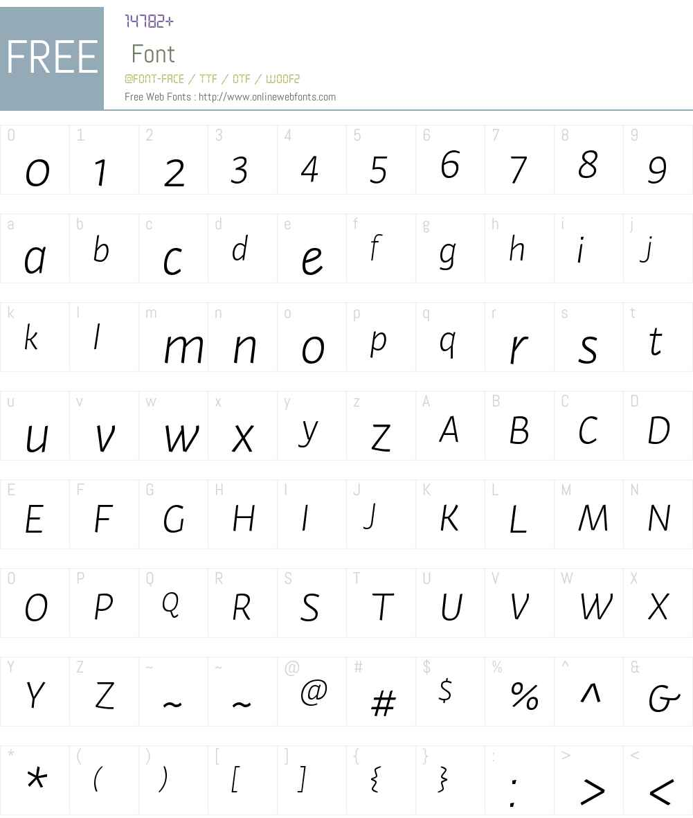 ActiumW00-LightItalic Font Screenshots