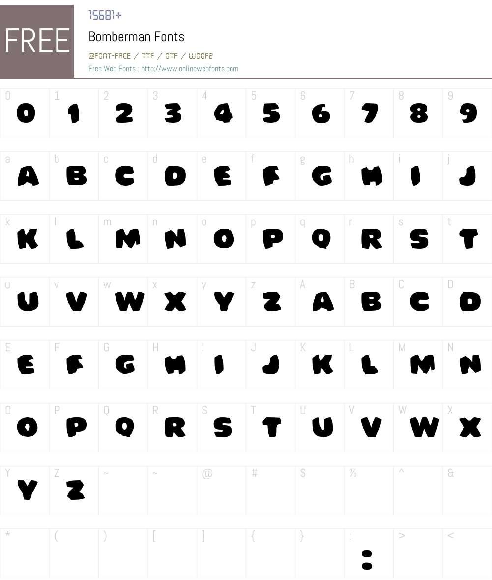 Bomberman Font Screenshots