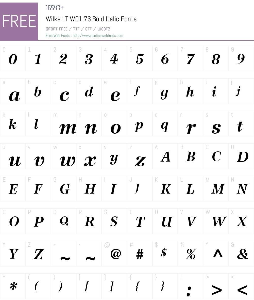 WilkeLTW01-76BoldItalic Font Screenshots