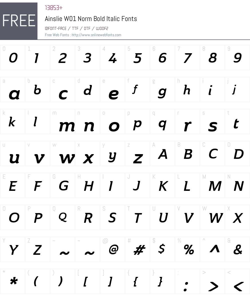 AinslieW01-NormBoldItalic Font Screenshots
