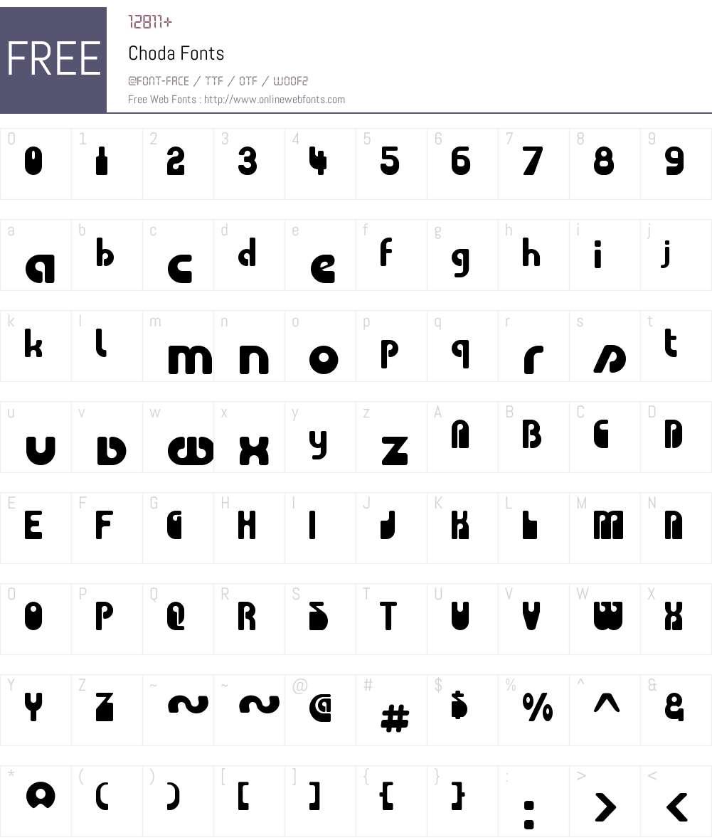 Choda Font Screenshots