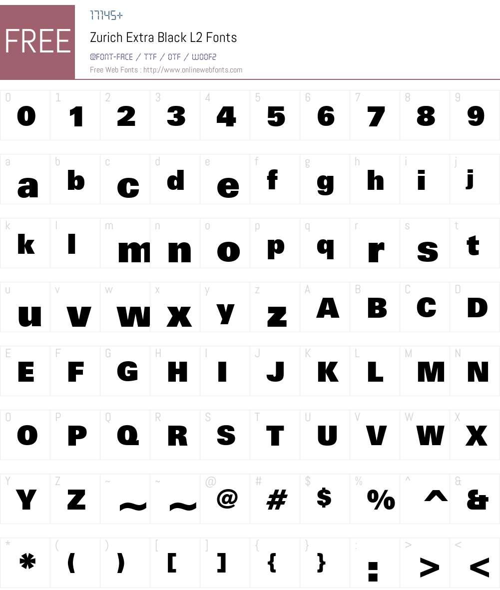 Zurich XBlk L2 Font Screenshots