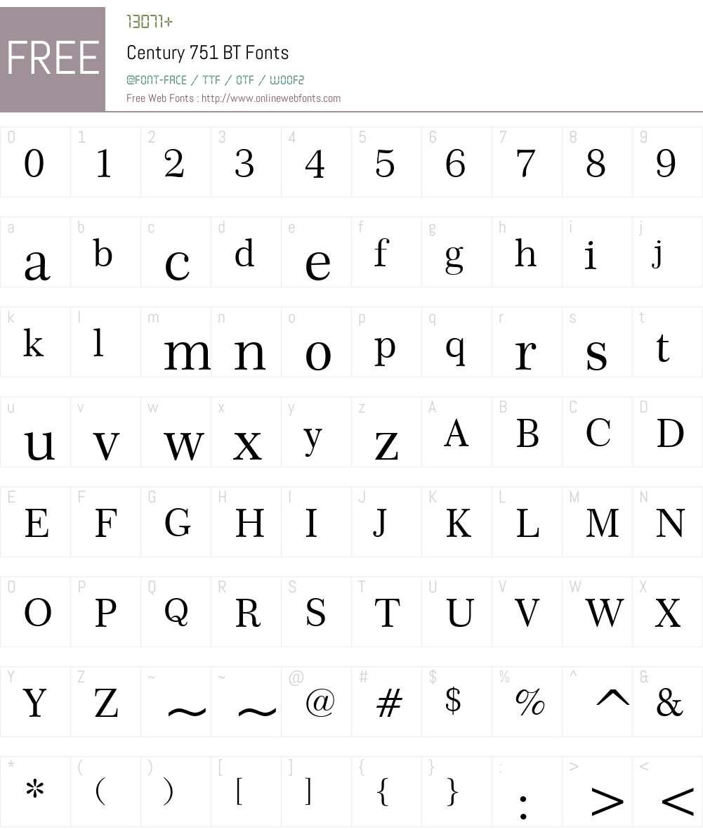 Century751 BT Font Screenshots