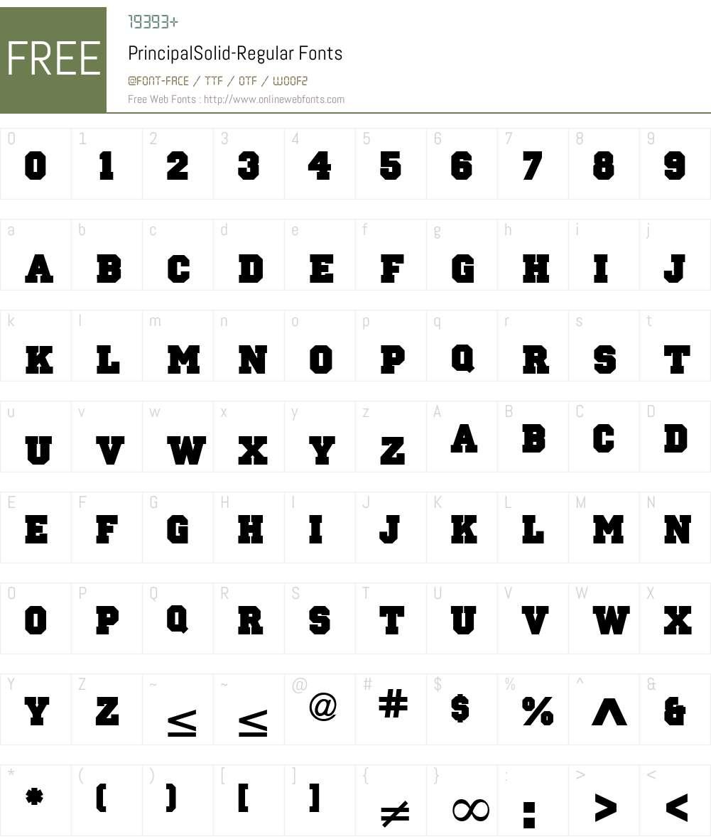 PrincipalSolid Font Screenshots