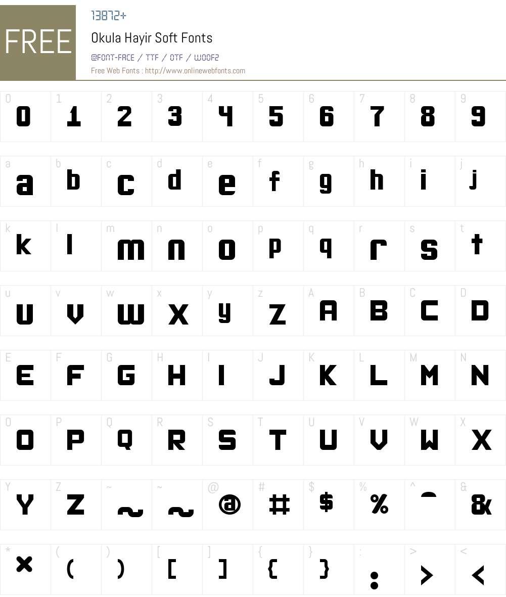Okula Hayir Soft Font Screenshots