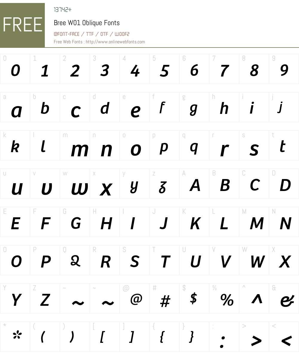 BreeW01-Oblique Font Screenshots