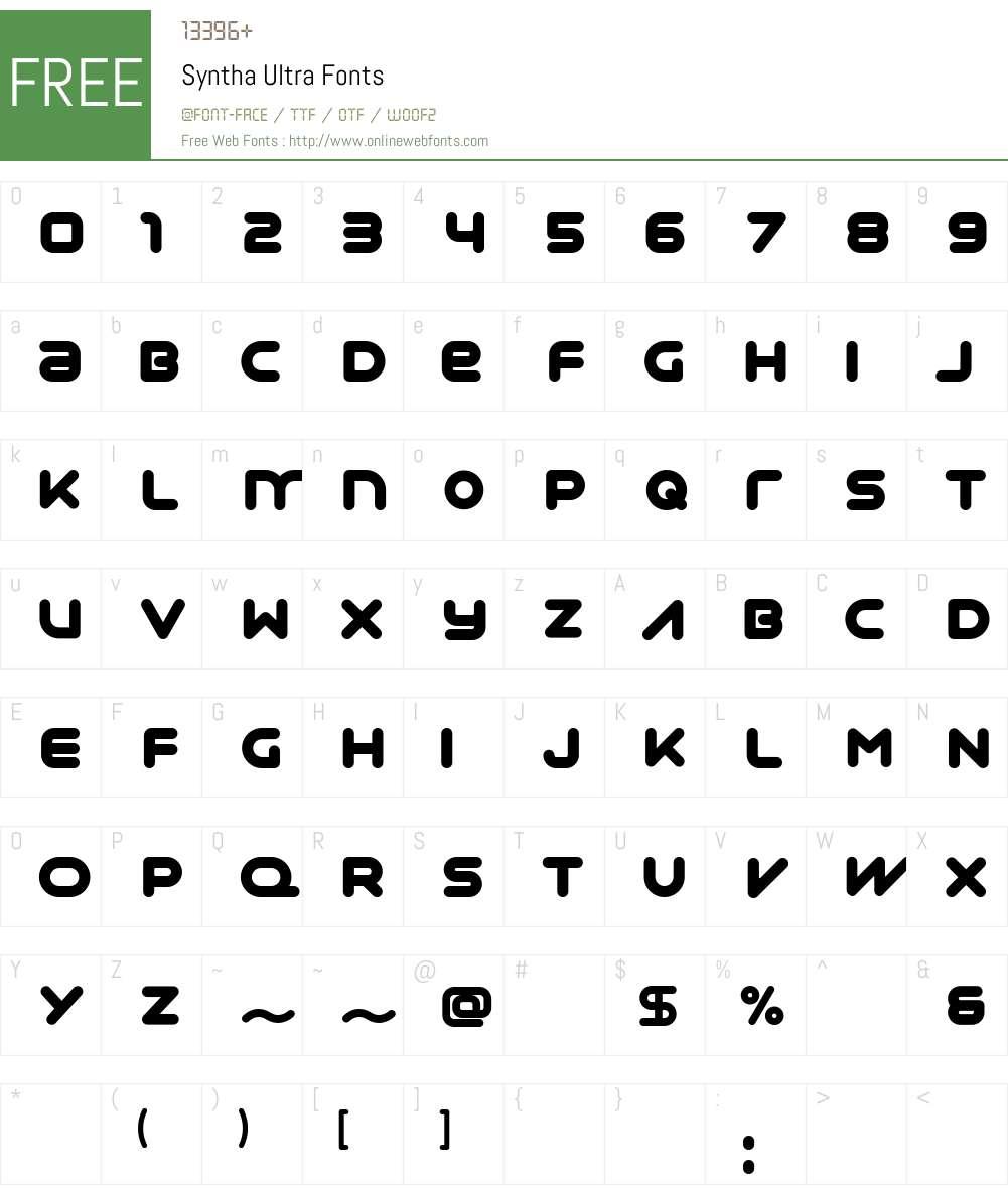 Syntha Font Screenshots