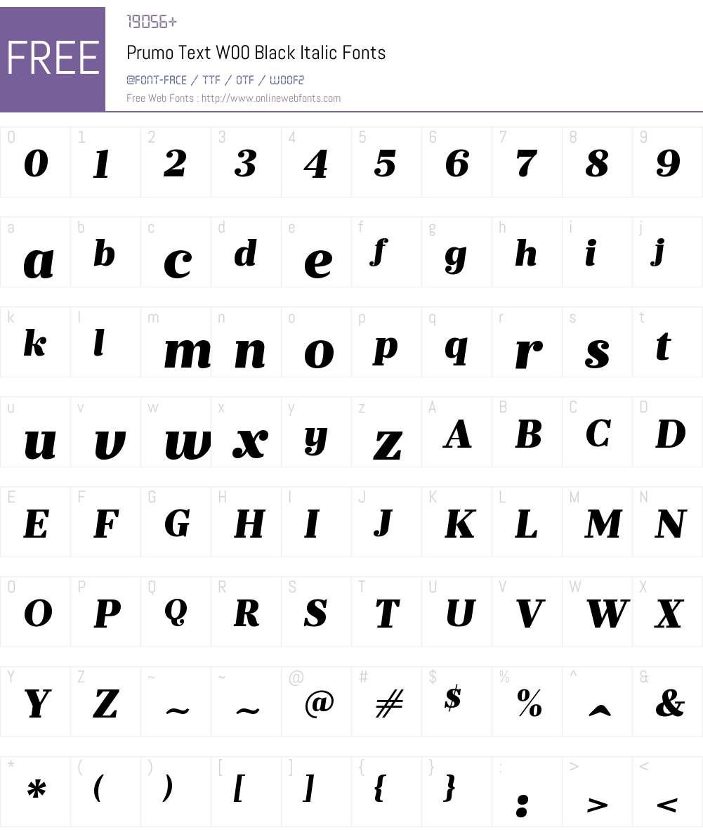 PrumoTextW00-BlackItalic Font Screenshots
