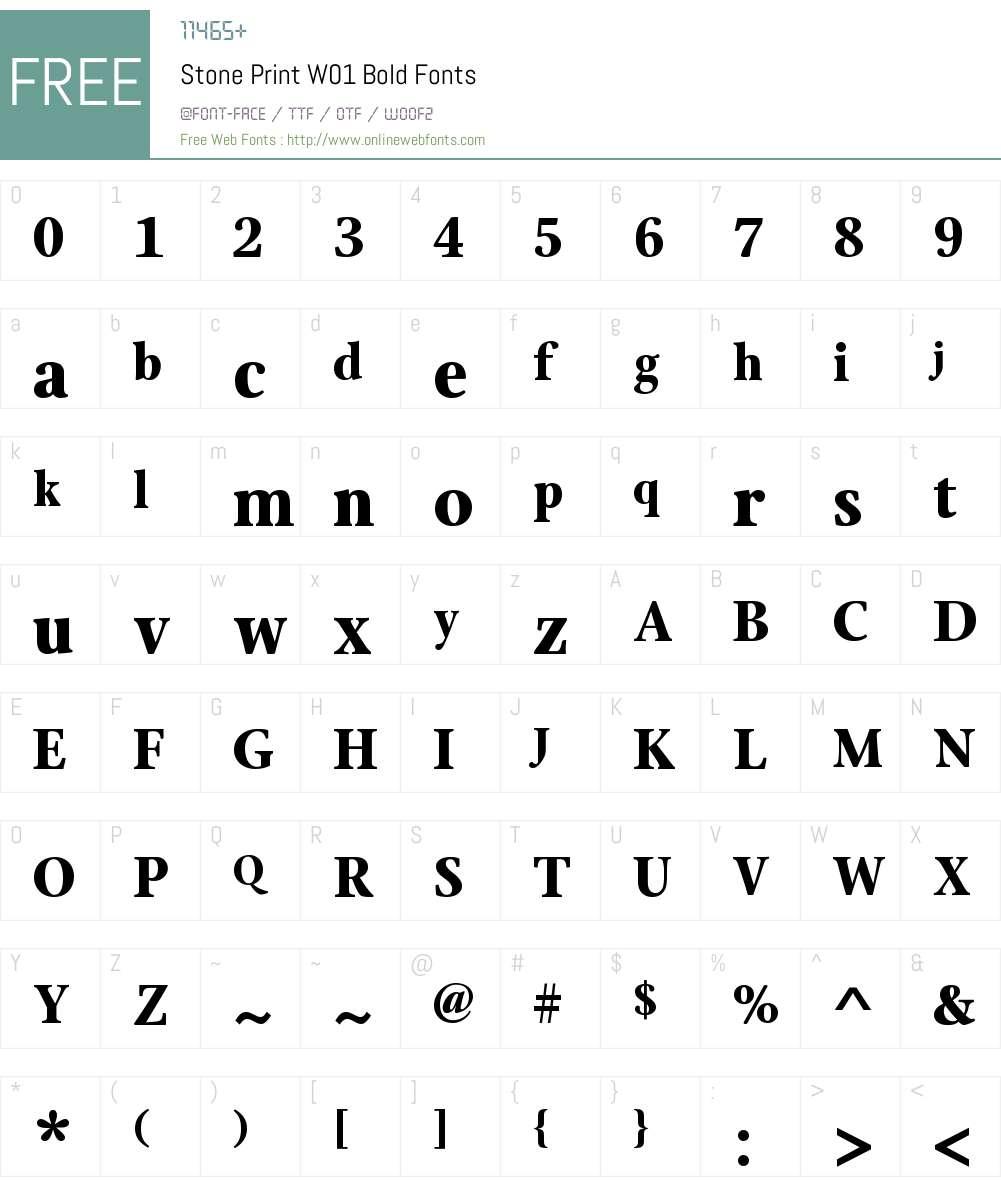 StonePrintW01-Bold Font Screenshots