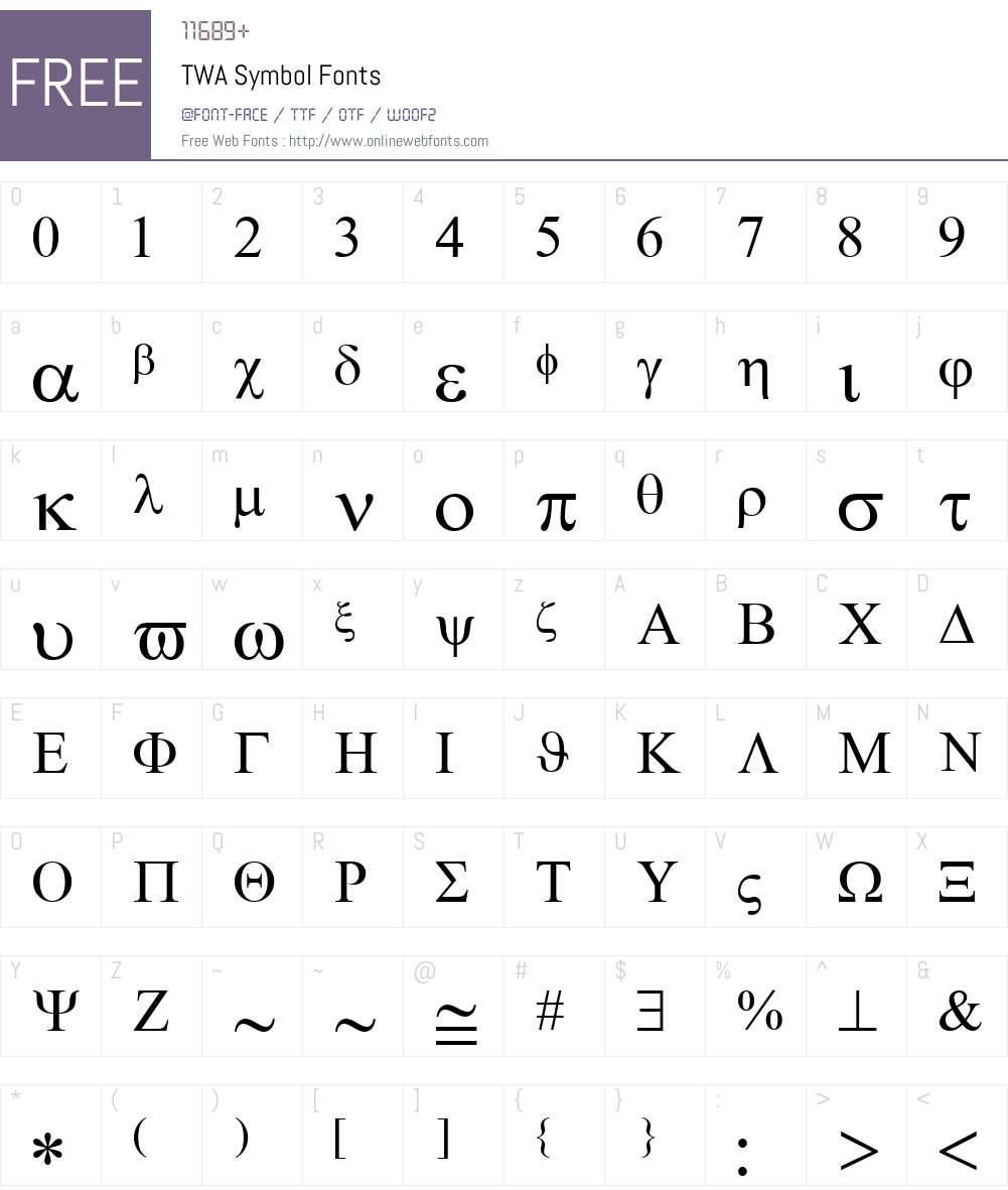 TWA Symbol Font Screenshots