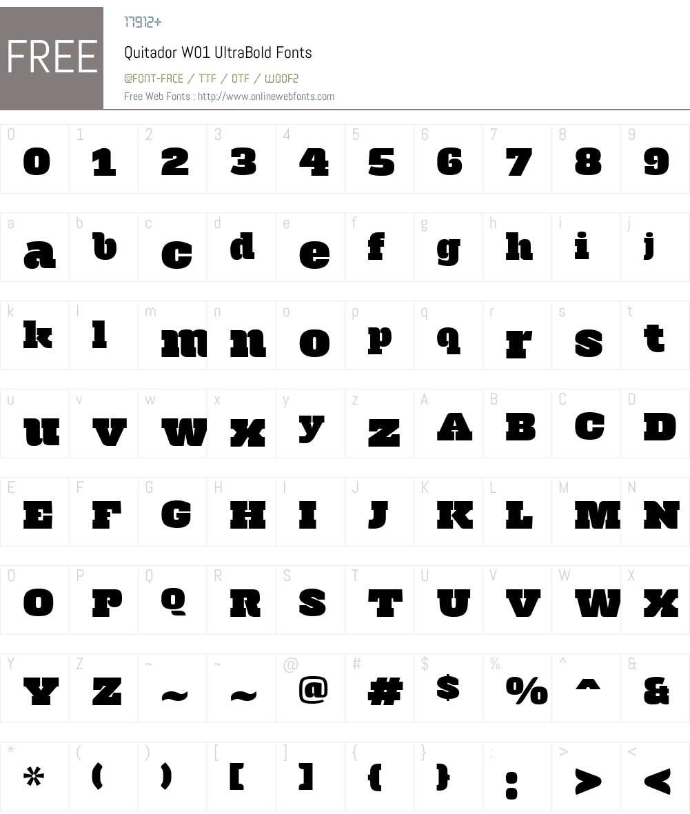 QuitadorW01-UltraBold Font Screenshots