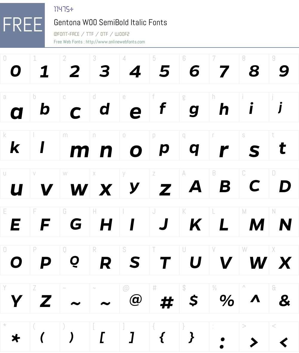 GentonaW00-SemiBoldItalic Font Screenshots